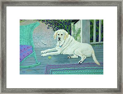 Porch Pooch Framed Print
