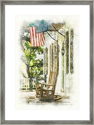 Porch Rocker At The Kaminski House Framed Print