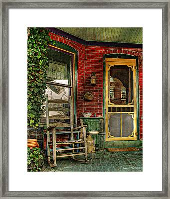 Porch Rocker Framed Print by Louise Reeves