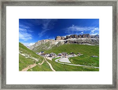 Pordoi Pass And Mountain Framed Print