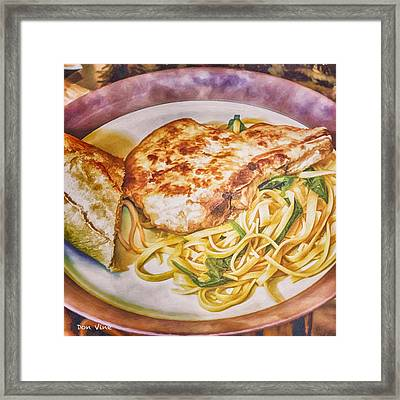 Pork Chop Noodles And French Bread Framed Print
