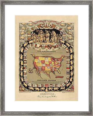 Pork Map Of The United States From 1876 Framed Print