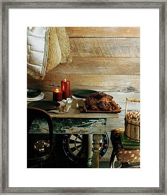 Pork With Candles Framed Print by Romulo Yanes