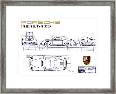 Porsche 356a Blueprint  Framed Print