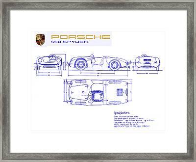 Porsche 550 Spyder Blueprint  Framed Print