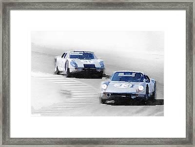 Porsche 904 Racing Watercolor Framed Print by Naxart Studio