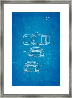 Porsche 911 Car 2 Patent Art 1964 Blueprint Framed Print by Ian Monk