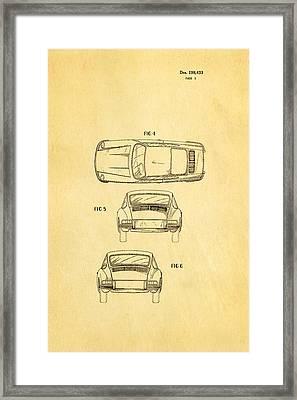 Porsche 911 Car 2 Patent Art 1964 Framed Print by Ian Monk