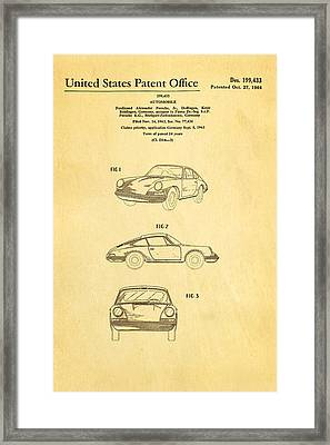 Porsche 911 Car Patent Art 1964 Framed Print