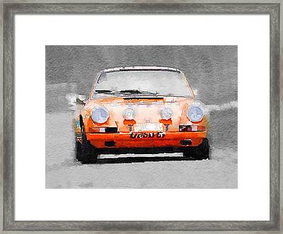 Porsche 911 Race Track Watercolor Framed Print by Naxart Studio