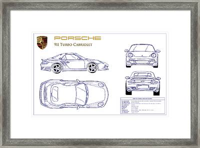 Porsche 911 Turbo Blueprint Framed Print