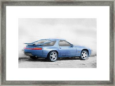 Porsche 928 Watercolor Framed Print by Naxart Studio