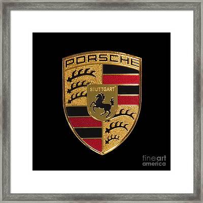Porsche Emblem - Black Framed Print