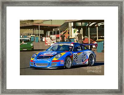 Porsche In The Pits Framed Print