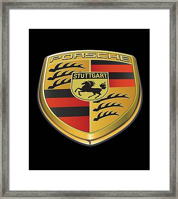 Porsche Logo On Black Framed Print by Alain Jamar