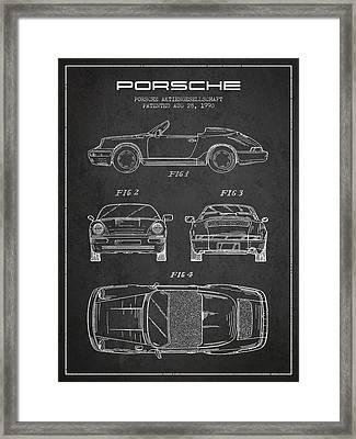 Porsche Patent From 1990 - Dark Framed Print by Aged Pixel