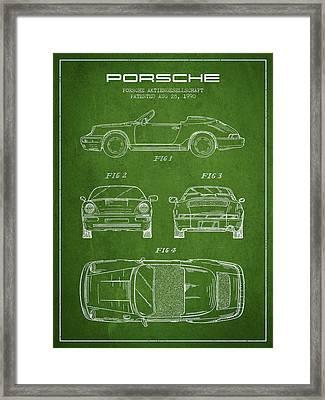 Porsche Patent From 1990 - Green Framed Print