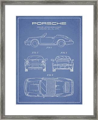 Porsche Patent From 1990 - Light Blue Framed Print