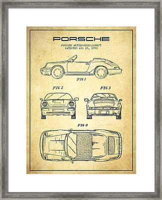 Porsche Patent From 1990 - Vintage Framed Print
