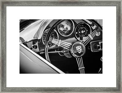 Porsche Steering Wheel Emblem -2043bw Framed Print by Jill Reger