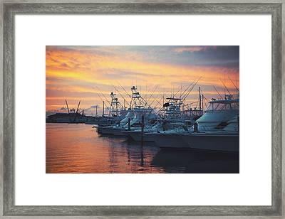 Port Aransas Marina Sunset Framed Print