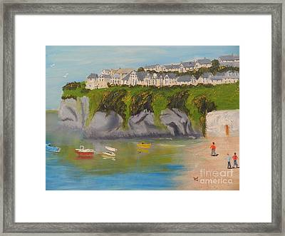 Framed Print featuring the painting Port Asaac Cornwell by Pamela  Meredith