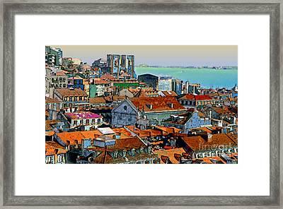 Port City Of Lisbon Framed Print by Linda  Parker