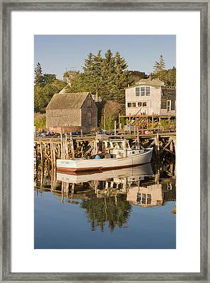 Port Clyde Maine Boats And Harbor Framed Print by Keith Webber Jr