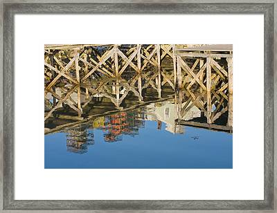 Port Clyde Maine Lobster Traps Reflecting In Water Framed Print