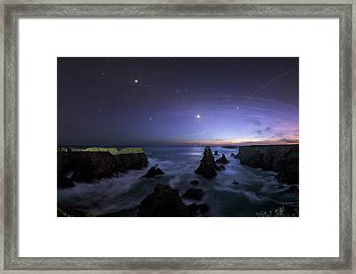 Port Coton Needles At Dusk Framed Print by Laurent Laveder