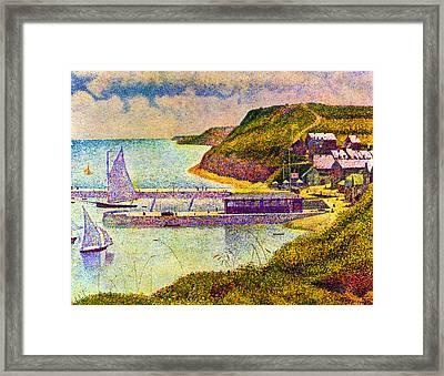 Port En Bessin Framed Print by Georges Seurat