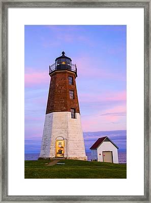 Port Judith At Sunset Framed Print by Karol Livote