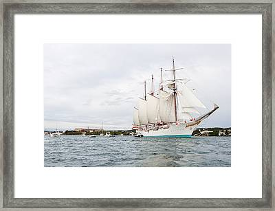 Juan Sebastian De Elcano Famous Tall Ship Of Spanish Navy Visits Port Mahon In Front Of Bloody Islan Framed Print by Pedro Cardona