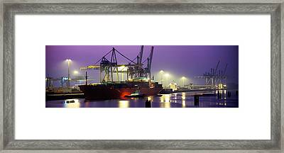 Port, Night, Illuminated, Hamburg Framed Print