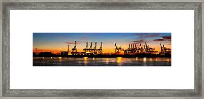 Framed Print featuring the photograph Port Of Hamburg Panorama by Marc Huebner