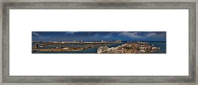 Port Of Miami Panoramic Framed Print by Susan Candelario