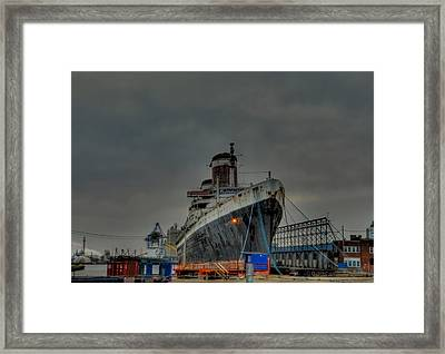 Port Of Philadelphia - Ss United States Framed Print by Bill Cannon