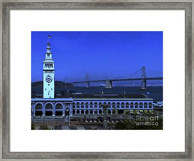 Port Of San Francisco Ferry Building On The Embarcadero - Painterly - V2 Framed Print by Wingsdomain Art and Photography
