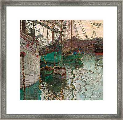 Port Of Trieste Framed Print by Egon Schiele