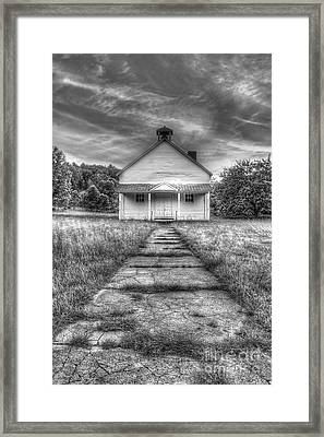 Port Oneida Schoolhouse In Black And White Framed Print