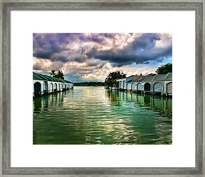 Storm Clouds Over  Port Royal Boathouses In Naples Framed Print