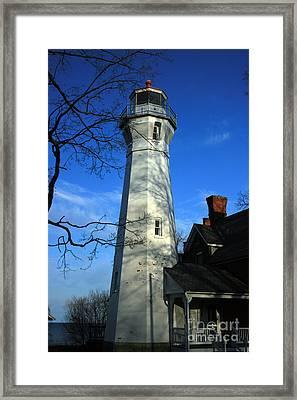 Port Sanilac Lighthouse Framed Print by Kathy DesJardins
