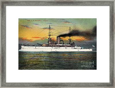 Port Side Of  The Battleship Illinois Bb-7 Circa 1908 Framed Print by California Views Mr Pat Hathaway Archives