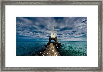 Port Washinton Pierhead Light Framed Print by Randy Scherkenbach