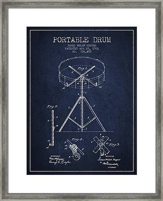 Portable Drum Patent Drawing From 1903 - Blue Framed Print