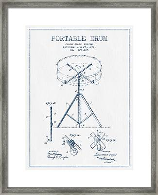 Portable Drum Patent Drawing From 1903 - Blue Ink Framed Print