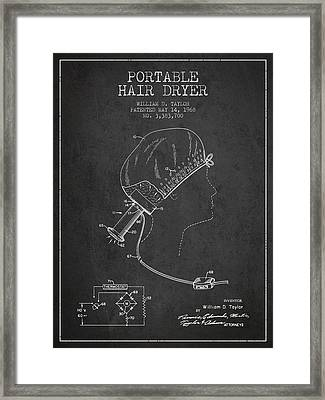 Portable Hair Dryer Patent From 1968 - Charcoal Framed Print