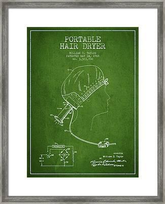 Portable Hair Dryer Patent From 1968 - Green Framed Print