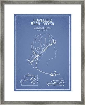Portable Hair Dryer Patent From 1968 - Light Blue Framed Print