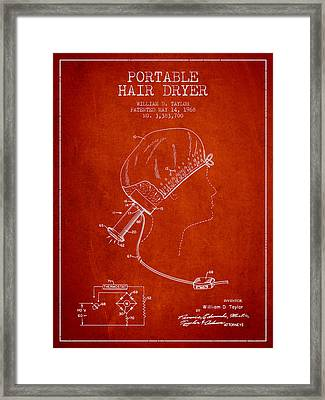 Portable Hair Dryer Patent From 1968 - Red Framed Print
